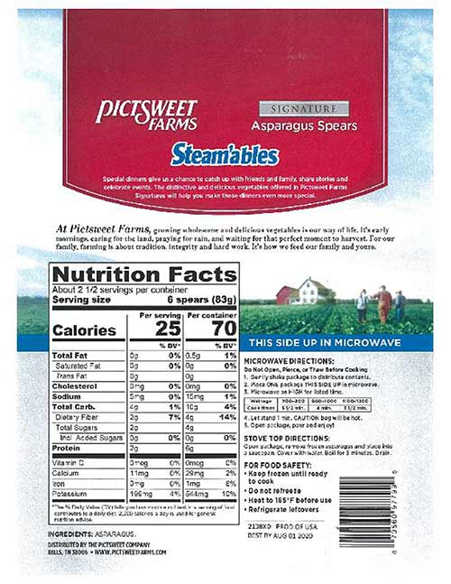 Pictsweet Asparagus Recall